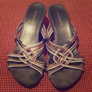 Liz Claiborne Gold & Silver Wedge Sandals
